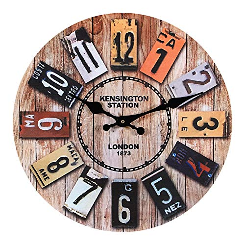 Horloge Murale Bois, 12'' Horloge Murale Geante, Horloge Vintage, Horloge Murale Design Moderne, Grande Horloge...