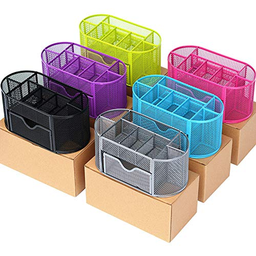 DishyKooker Metallstifthalter Bleistiftlauf Multifunktionales Studentenbriefpapier 9-Zellen-Kombinations-Aufbewahrungsbox Lila geschachtelt articulos de producto