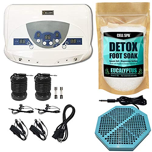 Cell Spa, Dual Ionic Ion Detox Aqua Foot Spa Chi Cleanse Machine with Mp3 Music Player With Twice Powerful CS-900 Array (EUCALYPTUS)