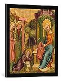 Gerahmtes Bild von Meister Bertram Buxtehuder Marienaltar. Besuch der Engel bei Maria, die den Rock Christi strickt, Kunstdruck im hochwertigen handgefertigten Bilder-Rahmen, 50x70 cm, Schwarz matt