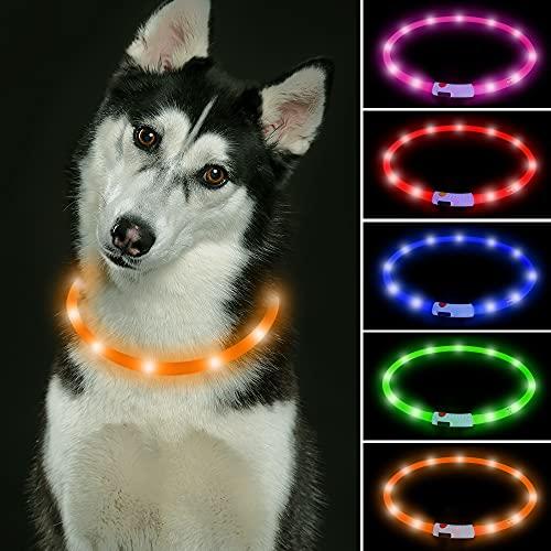 LED Collar Perro ISEEN LED Collares Para Perros Collar de Seguridad Para Perro con USB Recargable Súper Brillante Collar Intermitente Para Perros Pequeños, Medianos y Grandes