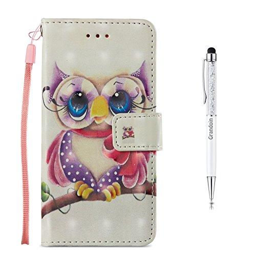 Grandoin Galaxy S7 Edge Hülle, Handyhülle im Brieftasche-Stil für Samsung Galaxy S7 Edge Handytasche PU Leder Flip Cover 3D Bunte Muster Book Case Schutzhülle Etui Case (Eule)