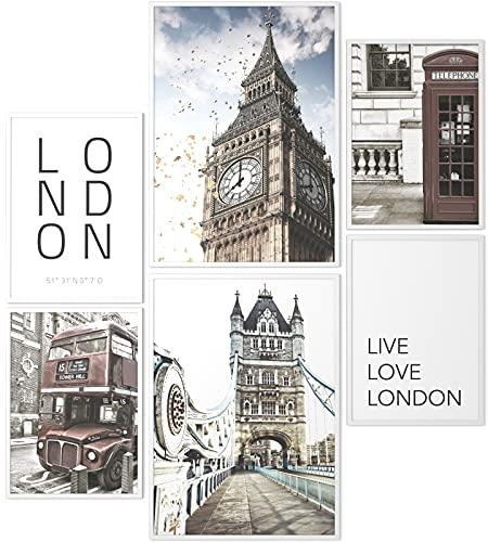 Papierschmiede® Mood-Poster Set London | Gerahmte Bilder in weißen Holzrahmen | Wohnzimmer & Schlafzimmer | 2X DIN A3 und 4X DIN A4 | Big Ben Tower Bridge England UK
