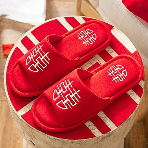 ZXQYLFLY Zapatillas casa Mujer,Zapatillas de Lino de algodón de Boda Primavera y...