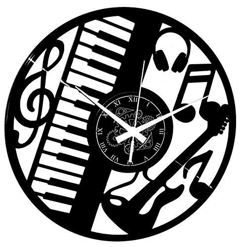 Reloj de pared de vinilo Vintage Handmade Amueblar Hogar Oficina Guitarra Bajo Rock Metal Punk Música Teclado