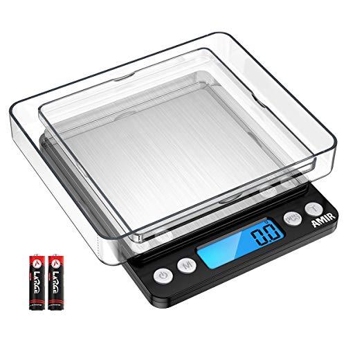 AMIR Digitale Küchenwaage 3kg, Electronische Waage, Hohe Präzision auf bis zu 0,1g, Briefwaage mit Tara-Funktion, Stückzählung Funktion, LCD-Display, Großer Edelstahl Wiegefläche, Inkl Batterien