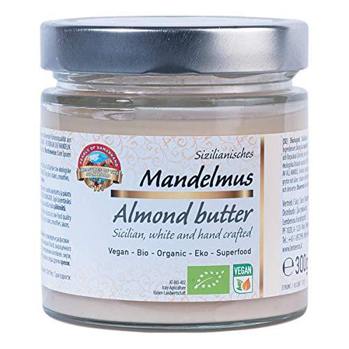 Crema di mandorle bianco biologico siciliano puro 300g BIO purea, Burro 100% mandorle, senza sale e zucchero, vegano, almond butter