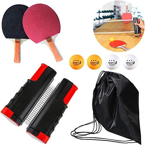 BCQ Professioneller Tischtennis-schläger, Tischtennis Set, Ping Pong Set 2 Tischtennisschläger und 4 Tischtennisbälle 1 einziehbares Netz, für alle Altersgruppen