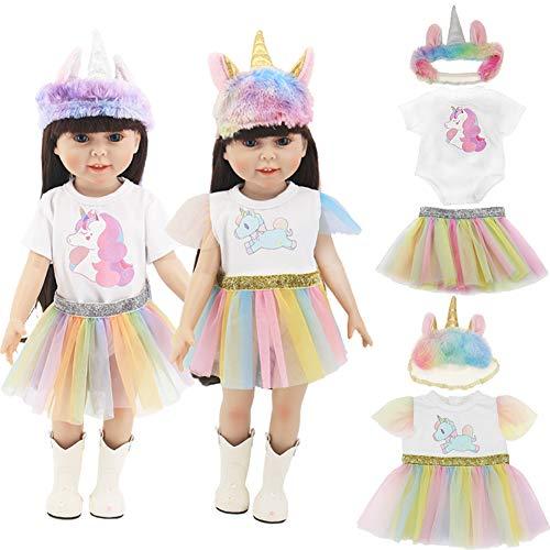 """WENTS Muñeca Unicornio Ropa Ropa de Muñecas Zapatos De Las Muñecas del Bebé Kit Regalo De La Decoración De Navidad Ropa para 18 """" Muñecas (40-45 cm)"""