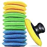 KKTICK Juego de 16 esponjas de microfibra para pulir a mano, aplicador de cera para coche, almohadilla suave para pulir ceras, pulidos, limpiador de pintura (amarillo, verde y azul, 15 unidades)
