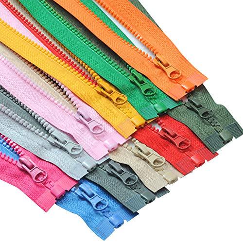 GoGOO 70 cm 27.56 Pulgadas No.5 Resina Cola Abierta Zippers para Ropa Chaqueta de Alto Grado Saco de Dormir Zip Tienda de Carpa Uniformes Cremallera de Resina Colorida