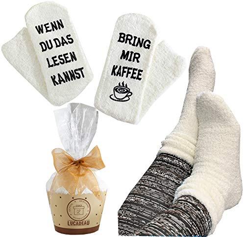 Lucadeau Geschenk für Frauen - WENN DU DAS LESEN KANNST, BRING MIR KAFFEE Socken, Geburtstagsgeschenke für Frauen,Freundin,Mama,Schwester (Kaffee-Creme)