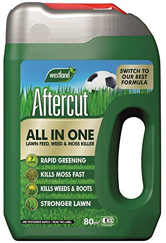 Aftercut 20400459 All In One Lawn Feed, Weed and Moss Killer Even-Flo Spreader, 80 m2, 2.56 kg, Natural