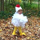 Disfraz de pollo para niños – Disfraz de animal dulce con plumas reales para niños pequeños;...