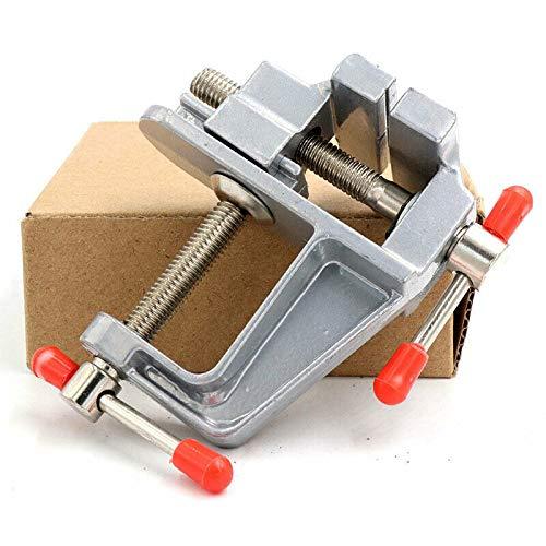 Mini banco de mesa, tornillo de banco de aluminio SENRISE Mini Vise pequeños joyeros Hobby abrazadera con mandíbula ajustable para hobby trabajo y reparación general, plateado