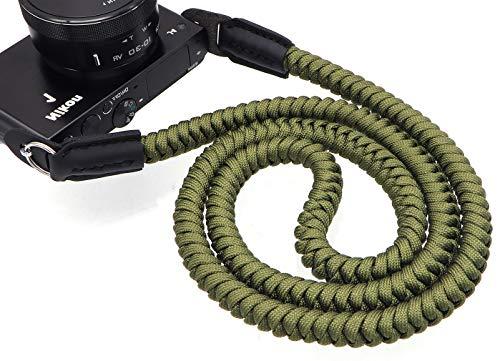 INPON カメラストラップ パラコード編み ネックストラップ ショルダーストラップ 丸リング/リングカバー付き 一眼レフ/ミラーレスカメラ用 グリーン 線径13mm 全長105cm