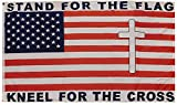 Trade Winds Stand for The Flag Kneel for The Cross USA Premium Quality Heavy Duty Fade Resistant 100D Woven Poly Nylon 3x5 3'x5' Flag Banner
