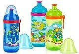 Nuby Pop-Up-Trinkbecher mit Ausguss und Deckel, 340 ml, Farben können variieren, 2er-Pack