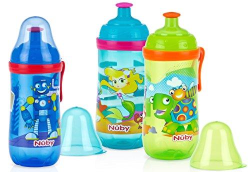 Nuby Lot de 2 gobelet pop-up avec bec verseur et couvercle, 340 g, les couleurs peuvent varier