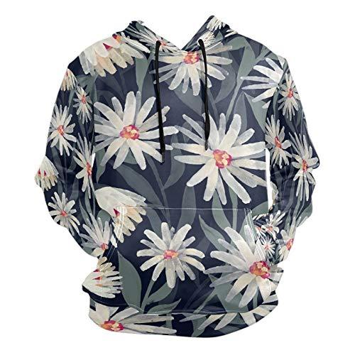 Moda 3D impresión margaritas decorativas patrón de flores unisex suéter fresco sudaderas con bolsillo canguro para hombres y mujeres