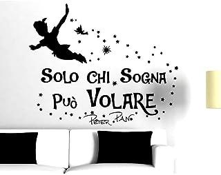 Adesivi Murali Frasi Peter Pan Solo chi sogna può Volare Citazione Wall Sticker Adesivo da Muro Adesivi Murali Frasi Amore...