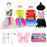 Jeowoqao Girls Dress up Trunk Princess Set, 24 PCS Pretend Play Costume Set, Fairytale, Supergirl, Princess, Rainbow Unicorn Costume for Toddler/Little Girls Ages 3-5yrs