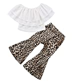 Baby Girls Lace Off Shoulder Ruffle T Shirt Top+High Waist Leopard Print Bell Bottom Long Pant Outfits Sets Clothes (4-5Y, White)