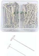 JFFX 120 Pieces Wig T-Pins Needles with Plastic Box, Silver Color, 70 Pieces 1.5 Inch and 50 Pieces 2 Inch