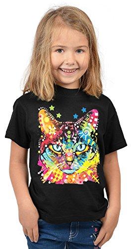 Katzen-Motiv Kindershirt - Kunstdruck Katze - buntes Katzenshirt für Kinder : Blue Eyes - Tiermotiv Katze Kinder T-Shirt Gr: L = 146-152
