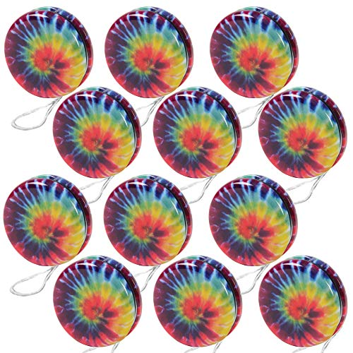 ArtCreativity Rainbow Yoyos for Kids, Pack of 12, Metal Yo-Yo Toys with Colorful Designs, Birthday Party Favors, Goodie Bag Fillers, Holiday Stocking Stuffers, Classroom Prizes