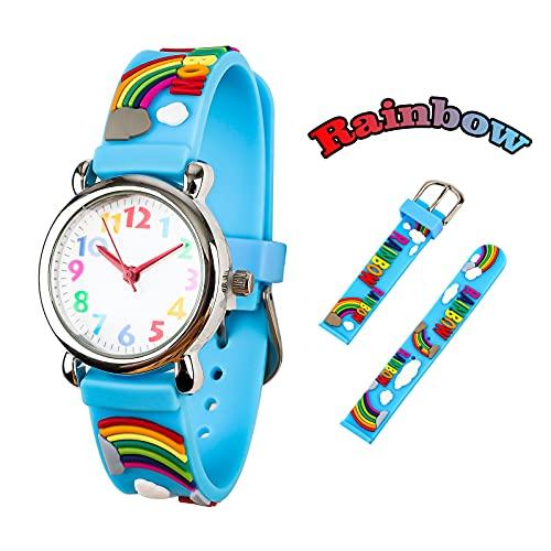 Orologio Bambini Vinmori,Impermeabile 3D Sveglio del Fumetto Orologio da Quarzo Regalo per Bambini Ragazzi e Ragazze Rainbow-blu
