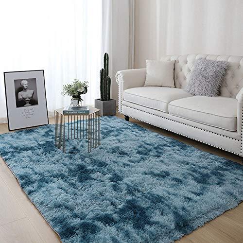 AMZERO Alfombras de Vinilo Alfombras en IKEA Alfombras Salon Modernas Rectangular Acogedor Moquetas para Sala de Estar, Dormitorio, sofá, Suelo, Azul Oscuro 100x200cm