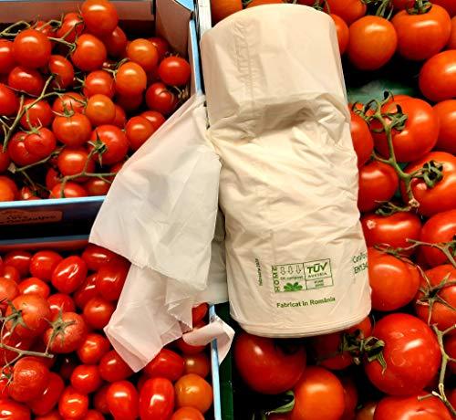 Bolsas Biodegradables y Compostables Fondo Reforzado de 35X45cm Rollo con 400 Bolsas, certificadas TUV Austria Conforme EN13432 y Fabricadas en la Unión Europea