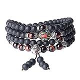 coai® Geschenkideen Gebetsarmband aus 108 Geschliffenem Onyx und Rotem Tigerauge mit Nepalesischer Perlen Tibetisches Wickelarmband Halskette für Damen und Herren