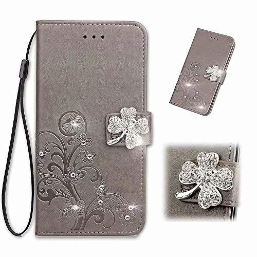 Funda para teléfono Huawei P Smart 2021, Bling Gems Diamond PU cuero Flip Wallet Carcasas de cristal brillante Rhinestone cubierta con mariposa magnética flor hebilla ranura para tarjeta vista gris