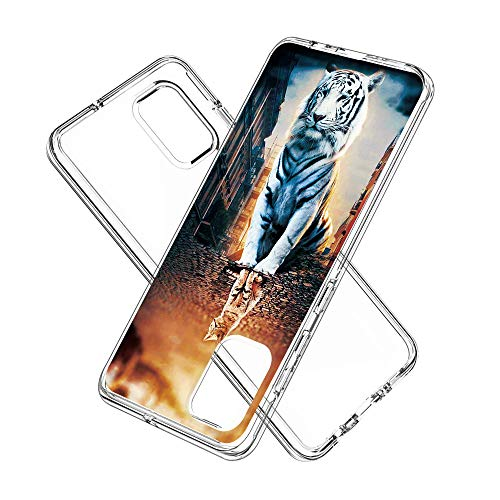 Coque Samsung Galaxy A71, Silicone Bumper, Transparent PC + TPU Hybride Boîtier de Protection avec Carte de Mode (La réflexion)