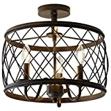 JONATHAN Y JYL9037B Eleanor 15' 3 Metal LED Semi Flush Mount Ceiling Traditional Dimmable, 2700K Cozy Warm Light, for Kitchen,Hallway,Bathroom,Stairwell, Oil Rubbed Bronze