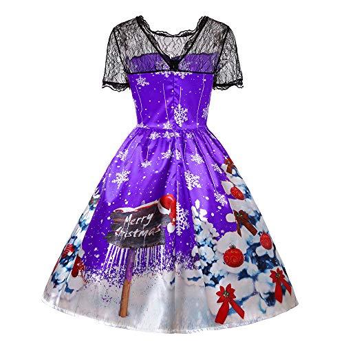Weihnachten Vintage Kleid für Frauen Party Hochzeit Spitze Flügelärmeln Flare Swing Cocktailkleid Schneeflocken Frohe Weihnachten Halloween Nachthemd Kleid