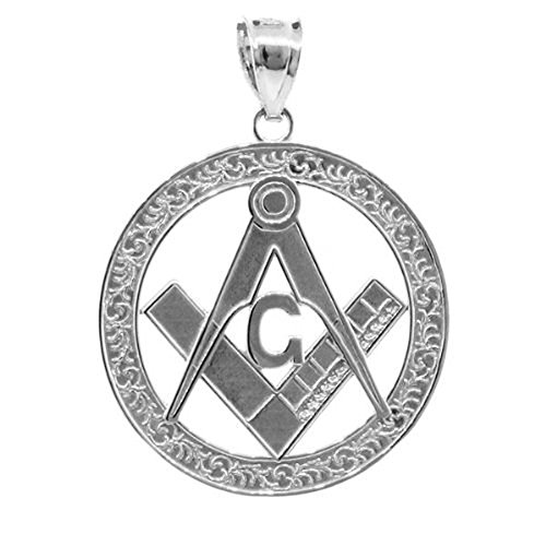 925 Sterling Silver Freemason Medallion Style Masonic Pendant (Large)