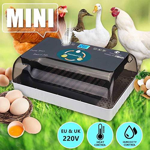 KKTECT Incubadora de huevos 12 Incubadora de pollos totalmente automática Eficiente con control automático de temperatura y giro de huevos, para uso en granjas, hogar Regalo de rompecabezas para niños