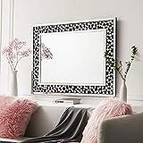 Kohros - Espejo de pared decorativo veneciano con diseño transparente para el hogar, hotel, dormitorio, baño, vidrio, Plateado, W 27.5' X H 40'