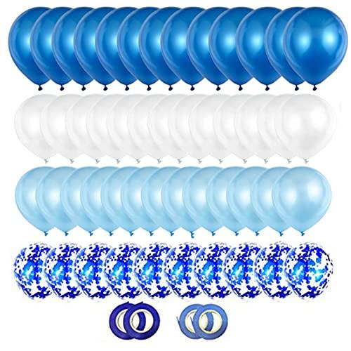 Ghirlanda di palloncini blu, Palloncini coriandoli blu,Palloncini azzurri e bianchi, 60 palloncini di compleanno, decorazioni per feste di compleanno, accessori, battesimo,baby shower,(12 pollici)