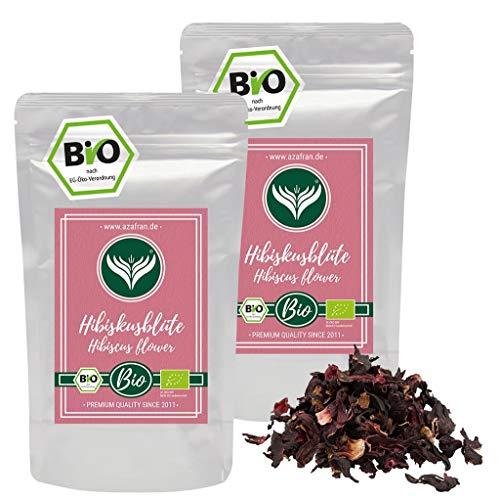 Azafran BIO Hibiskusblüten, Hibiskus ganz getrocknet, ideal als Hibiscus Tee 500g