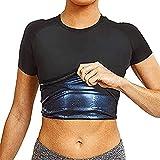 joyvio Sauna Sweat Vest Corsé Entrenador de Cintura Body Top Shapewear Camiseta Adelgazante Mangas Cortas Accesorios de Ejercicio Traje Control Abdominal Hombres Camiseta de atrapamiento de Calor