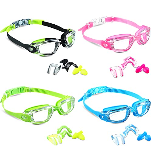 4 Pieces Swim Goggles Adult Kids Swimming Goggles No Leaking Anti Fog Goggles for Men Women Boys Girls Youth, Soft Silicone Frame (Over 8 Years Old)