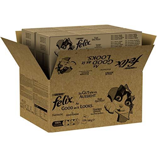 Felix Katzennassfutter So gut wie es aussieht Rind Gemischte Vielfalt mit Huhn, 120 x 100 g