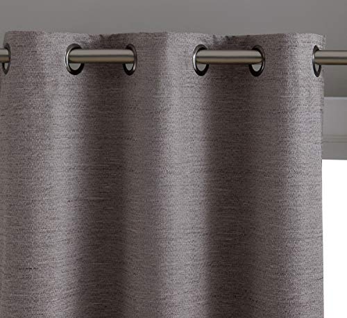 HLC.ME Elizabeth Textured 100% Full Blackout Thermal Insulated Window Curtain Grommet Panels - Energy Saving & Soundproof - for Living Room & Bedroom, Set of 2 (37 x 84 inches Long, Taupe)