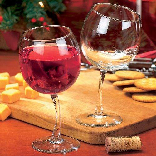Tipsy Wine Glasses 12 oz. Goblets with Slightly Bent Stems (Set of 2)