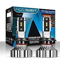 led ヘッドライト NOVSIGHT H7 LEDバルブ ファンレス 10000LM(5000LM*2) 50W(25W*2) 明るく高輝度 360°光軸調整可能 6500K ホワイト 2年保証 2個セット