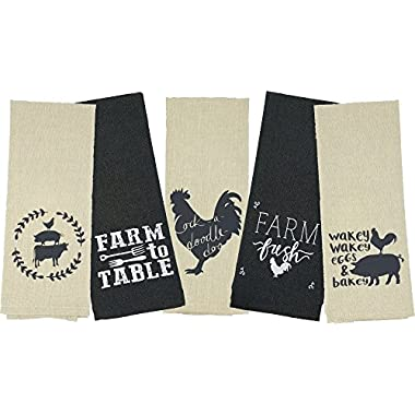 Home Concepts Set of Five Flour Sack Kitchen Towels, Charcoal and Tan Cloth, Country Farm Breakfast Theme with Chickens, Pigs, and Cow (16 x 28 in)